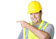 Rugged Male Worker Pointing Royalty Free Stock Photography