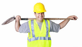 Rugged Male Worker Pointing stock photo