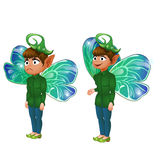 Smiling and sad boy leprechaun in green suit. Vector fictional character on white background for animation, comics, and other design needs Royalty Free Stock Image