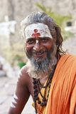 A smiling sadhu in Varanasi Royalty Free Stock Photo