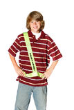 Smiling Safety Patrol. Teenager wearing a safety patrol belt ready to help students cross the street Stock Photo