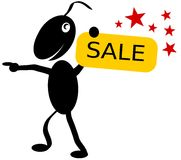 Smiling Sale. Illustration of a little creature holding a plate SALE Royalty Free Stock Photo
