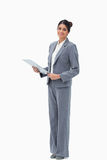 Smiling saleswoman with clipboard Stock Photos