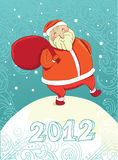 Smiling santa 2012. Vector smiling santa 2012 illustration holding bag with presents stock illustration