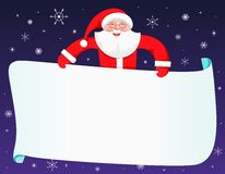 Smiling Santa Claus behind a blank white sign Royalty Free Stock Photography