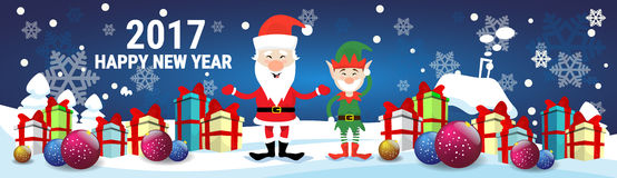 Smiling Santa Claus And Christmas Elf With Holiday Present Boxes Happy New Year Stock Images