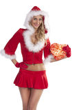 Smiling santa claus girl with gift box Royalty Free Stock Photos