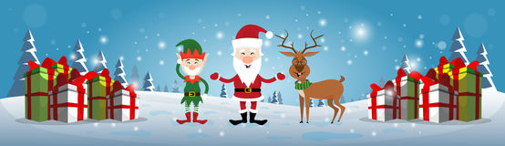 Smiling Santa Claus, Reindeer And Christmas Elf With Holiday Present Boxes Happy New Year Stock Image