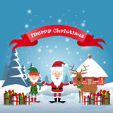 Smiling Santa Claus, Reindeer And Christmas Elf With Holiday Present Boxes Happy New Year Stock Photos