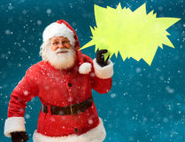 Smiling Santa Claus with sign speech bubble banner. Happy Santa Stock Photography