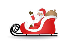 Smiling Santa Claus with sled Royalty Free Stock Images