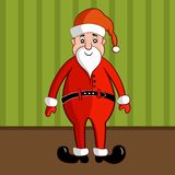 Smiling Santa Claus in traditional red costume. Cute smiling fat Santa Claus in traditional red costume. Christmas character on green wallpaper background royalty free illustration