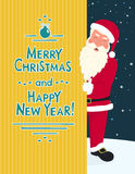 Smiling Santa Claus wearing red hat and glasses holds a banner Stock Images