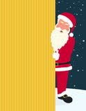 Smiling Santa Claus wearing red hat and glasses holds a banner with merry Christmas  Stock Image