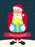 Smiling Santa Claus wearing red hat and glasses Stock Images