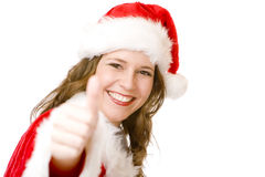 Smiling Santa Claus woman shows thumb up Royalty Free Stock Photo