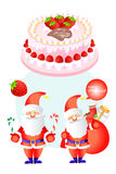 Smiling santa clause with christmas gifts on the delicious cake - vector eps10 Stock Images