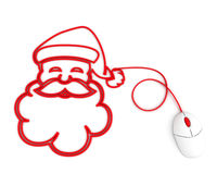 Smiling Santa depicted with computer mouse cable Royalty Free Stock Photo