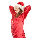 Smiling Santa young woman Royalty Free Stock Image