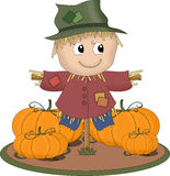 Smiling scarecrow. An illustration featuring a scarecrow surrounded by pumpkins Stock Photography