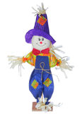 Smiling scarecrow in colorful clothes isolated on white. Halloween image. Royalty Free Stock Photos