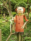 Smiling Scarecrow Standing In Green Field Stock Images