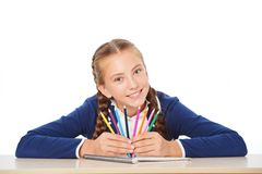 Free Smiling School Girl With Colorful Pencils Stock Image - 50415301