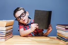 Smiling schoolboy with book sitting at the desk Royalty Free Stock Image
