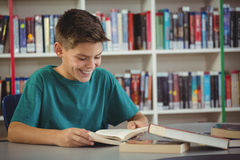 Smiling schoolboy reading book in library. At school Royalty Free Stock Image