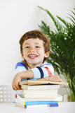 Smiling schoolboy studying in home. Royalty Free Stock Photos