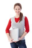 Smiling schoolgirl with laptop Stock Images