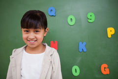 Smiling schoolgirl posing in front of a blackboard Royalty Free Stock Images