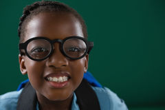 Smiling schoolgirl with spectacles standing against green background. Portrait of smiling schoolgirl with spectacles standing against green background Royalty Free Stock Images