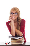Smiling schoolgirl teenager with books in glasses Royalty Free Stock Images