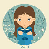 Smiling schoolgirl with textbook in her hands. Math. Vector Illustration Royalty Free Stock Photos