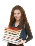 Smiling schoolgirl with textbooks Stock Photography