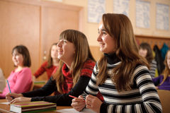 Smiling schoolgirls Royalty Free Stock Images