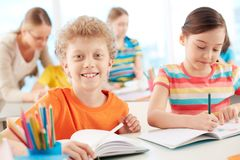 Smiling schoolkid Stock Images