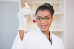 Smiling scientist showing test tube with red fluid Stock Image