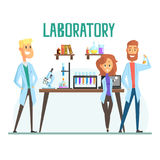 Smiling scientists man and woman working in a lab, interior of science laboratory stock illustration