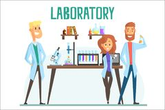 Smiling scientists man and woman working in a lab, interior of science laboratory royalty free illustration