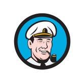 Smiling Sea Captain Smoking Pipe Circle Retro Stock Images