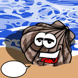 Smiling Seashell with speech bubble Royalty Free Stock Image