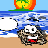 Smiling Seashell with speech bubble Stock Images