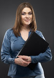 Smiling secretary with black paper folder Stock Photos