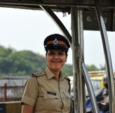 Smiling Security officer. Smiling Security Lady on duty Stock Photo