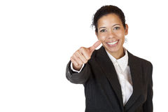 Smiling self confident business woman shows thumb Stock Image