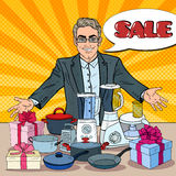Smiling Seller with Household Appliances. Domestic Equipment Shopping. Pop Art illustration Royalty Free Stock Image
