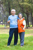 Smiling senior couple holding badminton racket Stock Photos