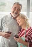 Smiling senior couple holding wine glass in kitchen Royalty Free Stock Image